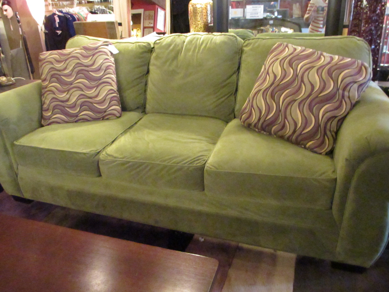 Sage Green Sofa W Espresso Feet Sold Ballard Consignment