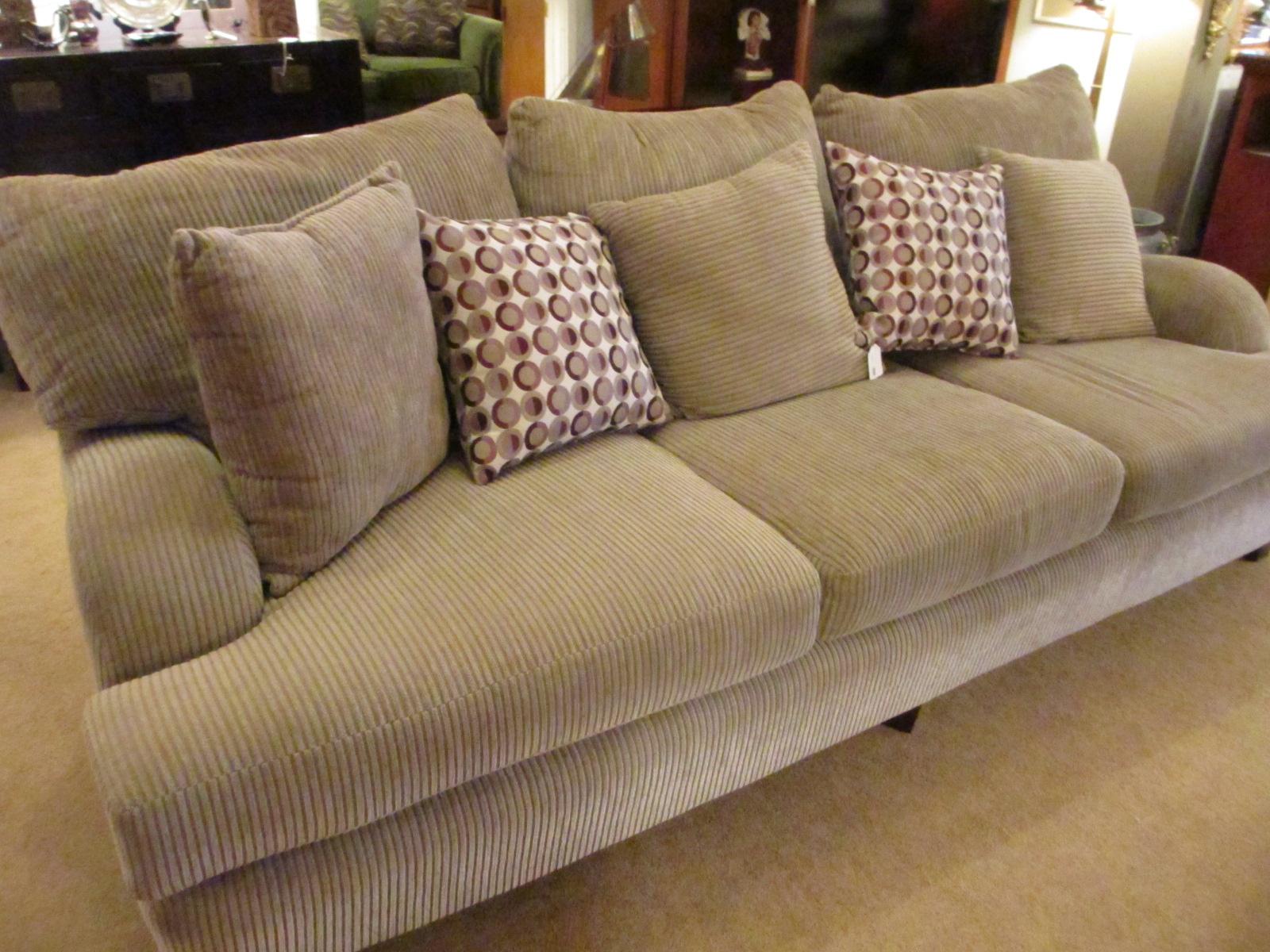 Khaki Grey Ribbed Chenille Sofa Sold Ballard Consignment