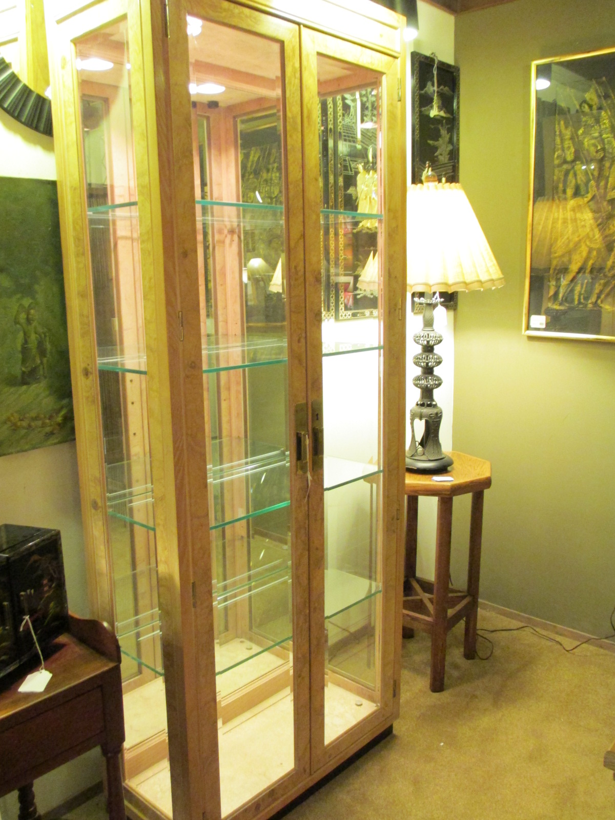Tall Henredon Glass Display Cabinet Sold Ballard