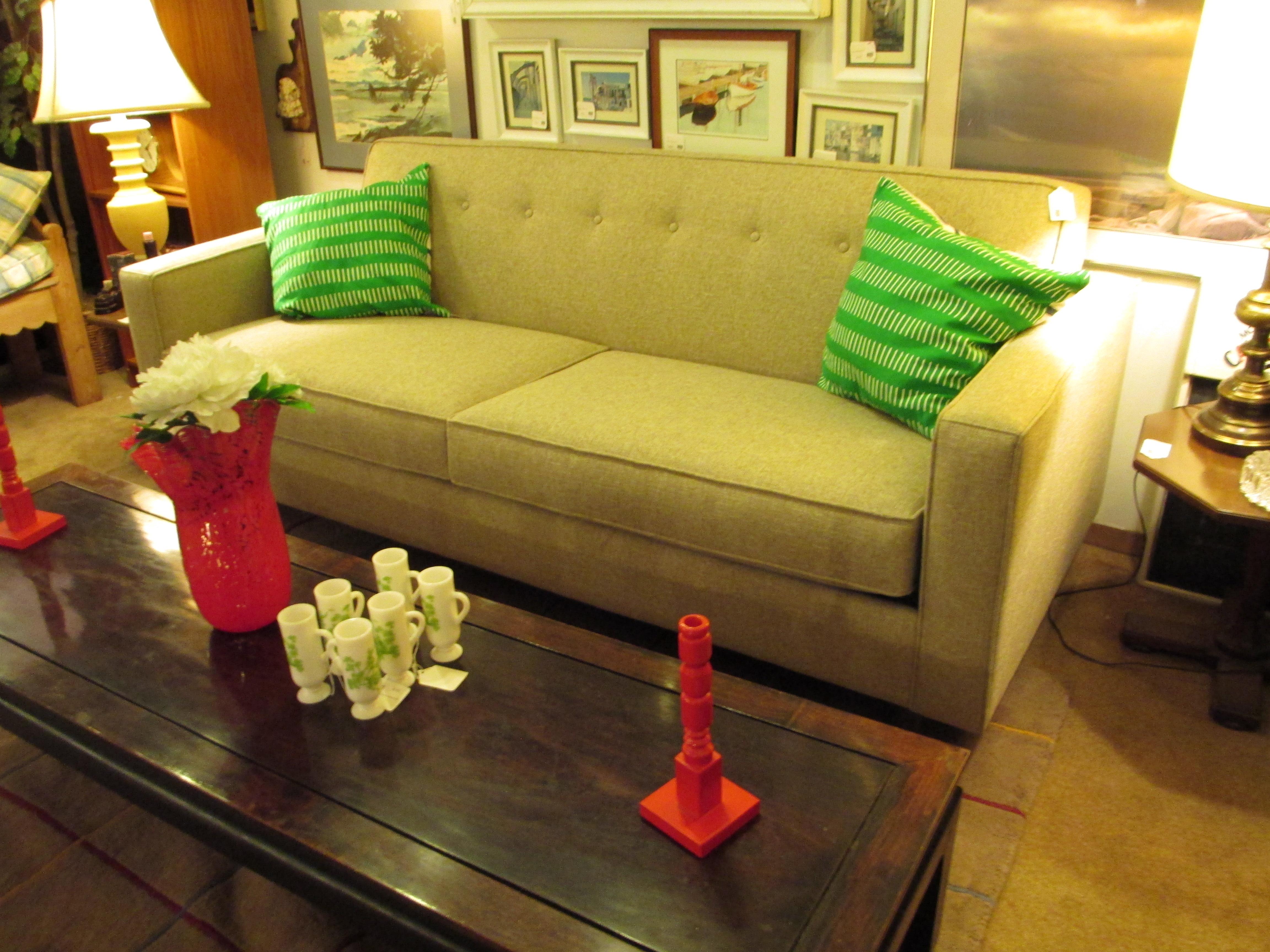 Biltwell Taupe Tufted Modern Sofa – $1200 – Ballard Consignment