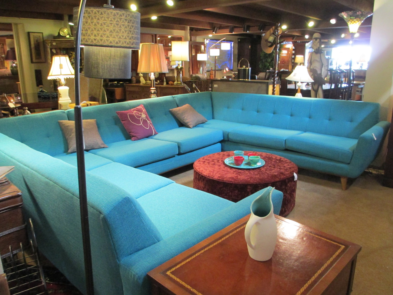 Retro Aqua Conversation Pit Sectional Sold Ballard