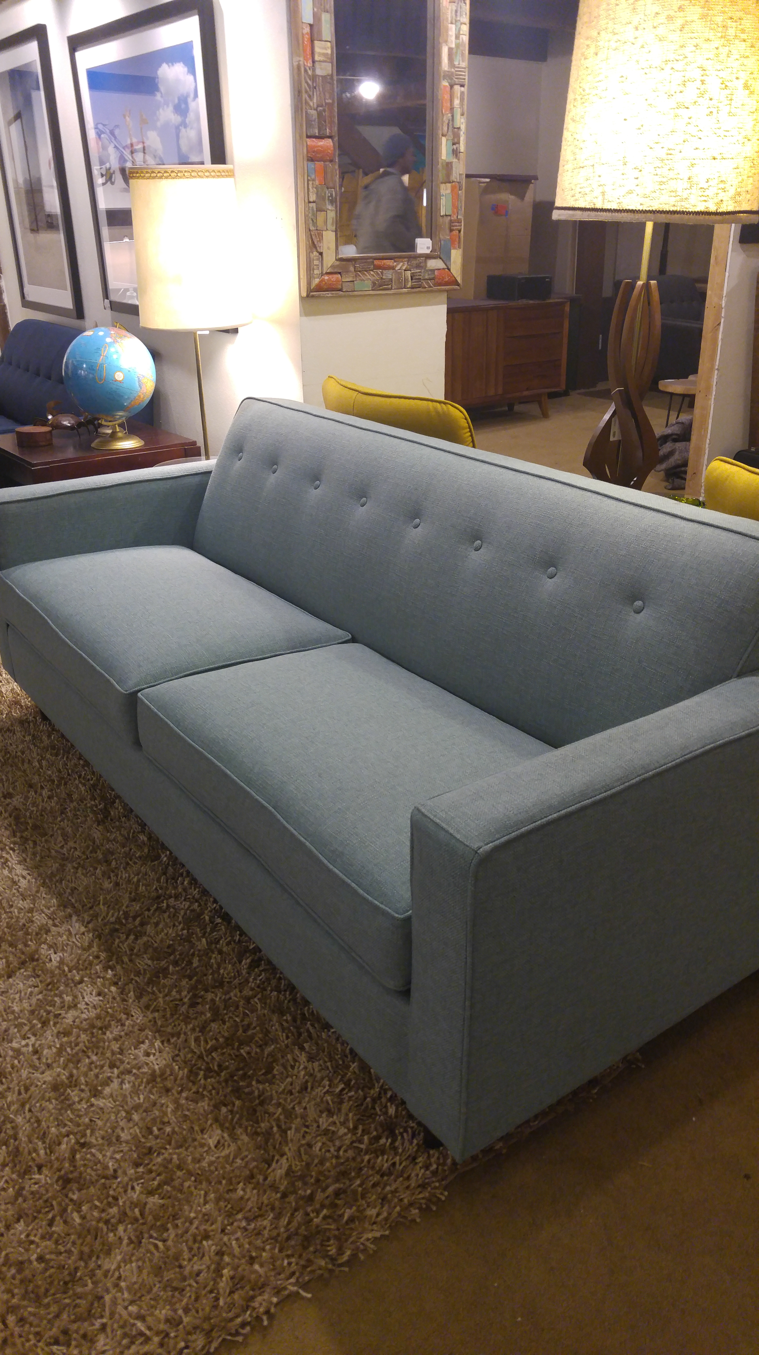 Description: Mid Century Seafoam Biltwell Bergamo Sofa $1250. Please Call  For Availability. If You Are Interested In This Piece, Refer To This Number  When ...