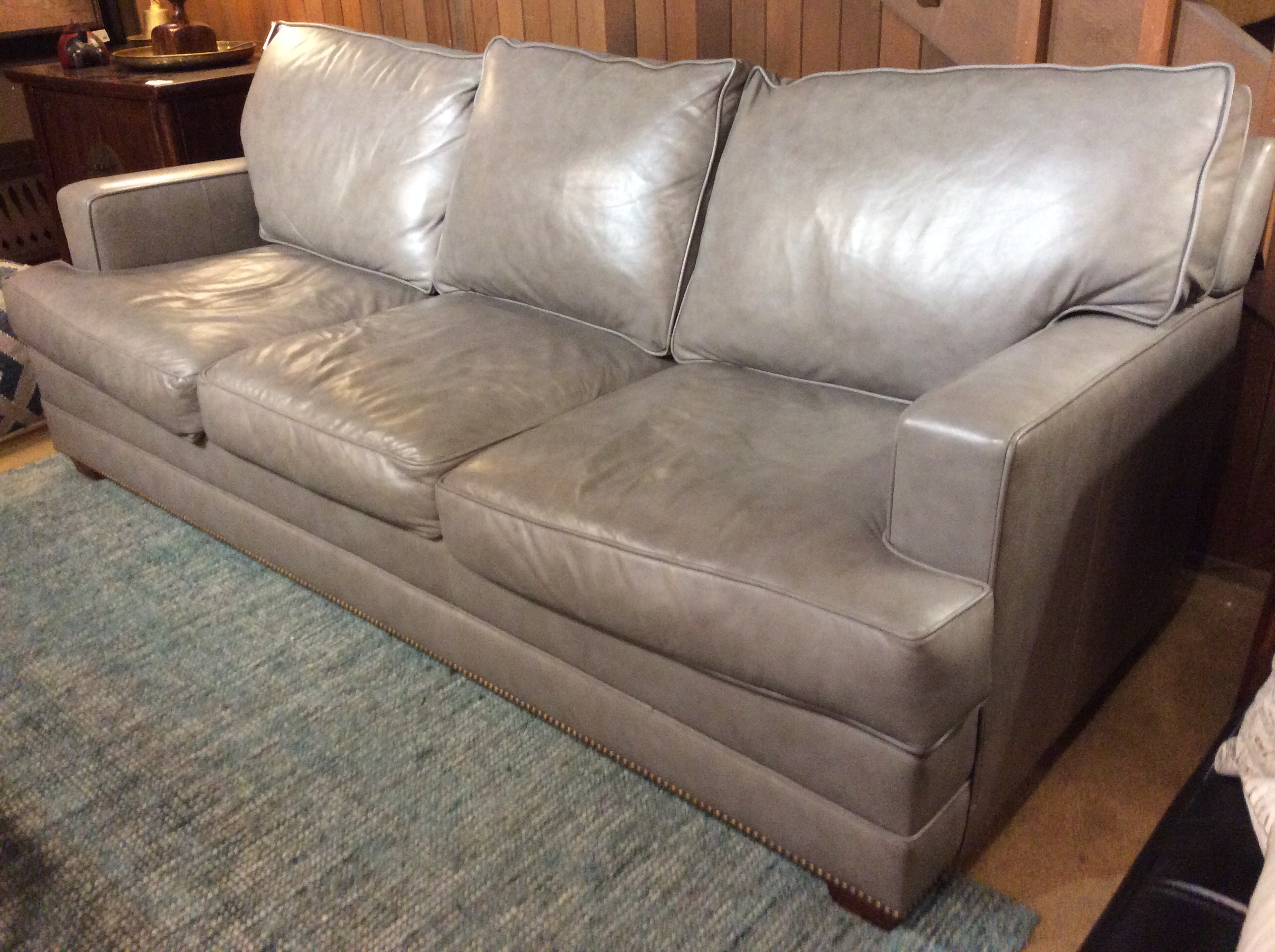 Description: Grey Elite Leather Sofa
