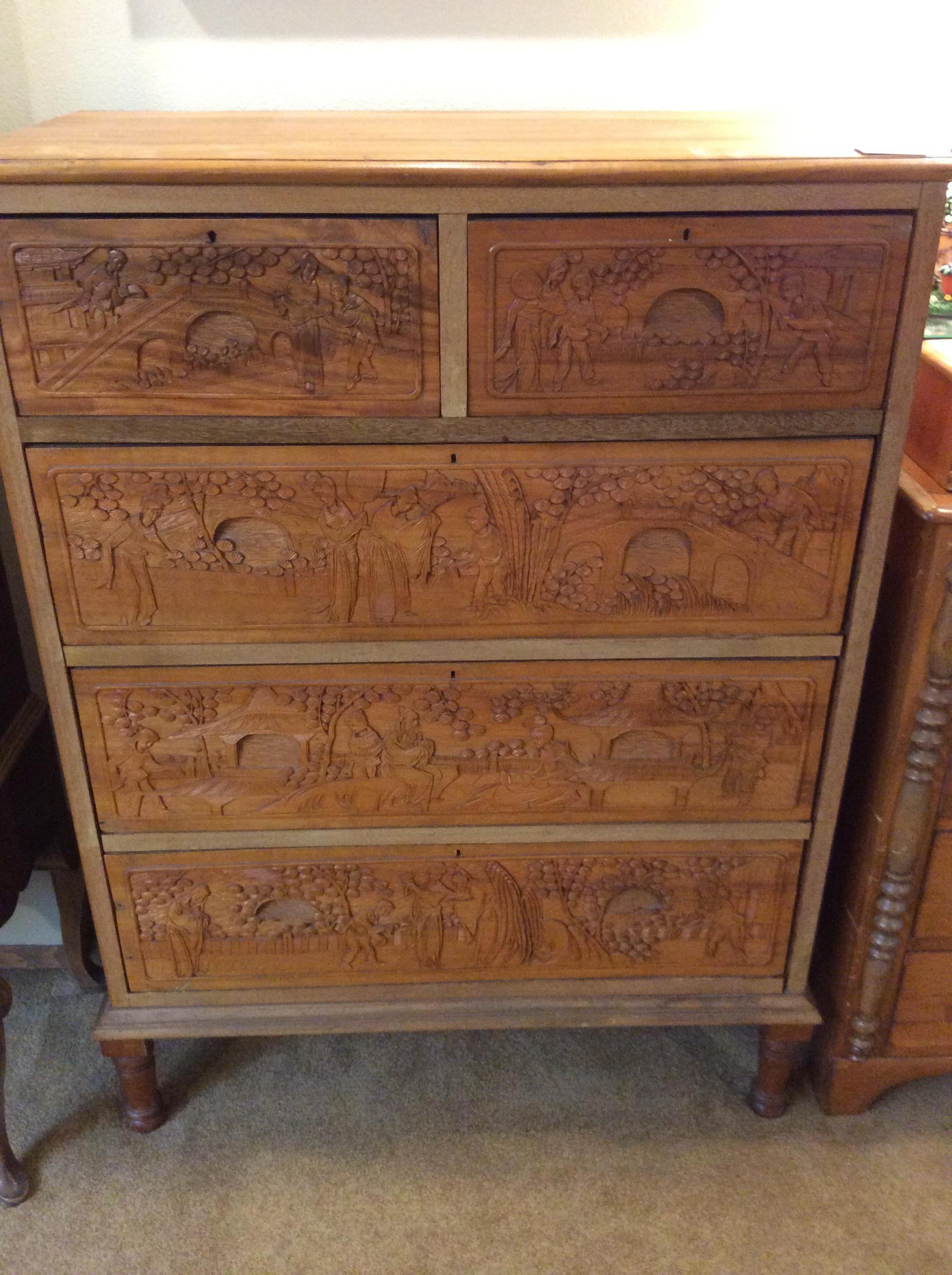 Asian Carved Dresser 850 Sold Ballard Consignment