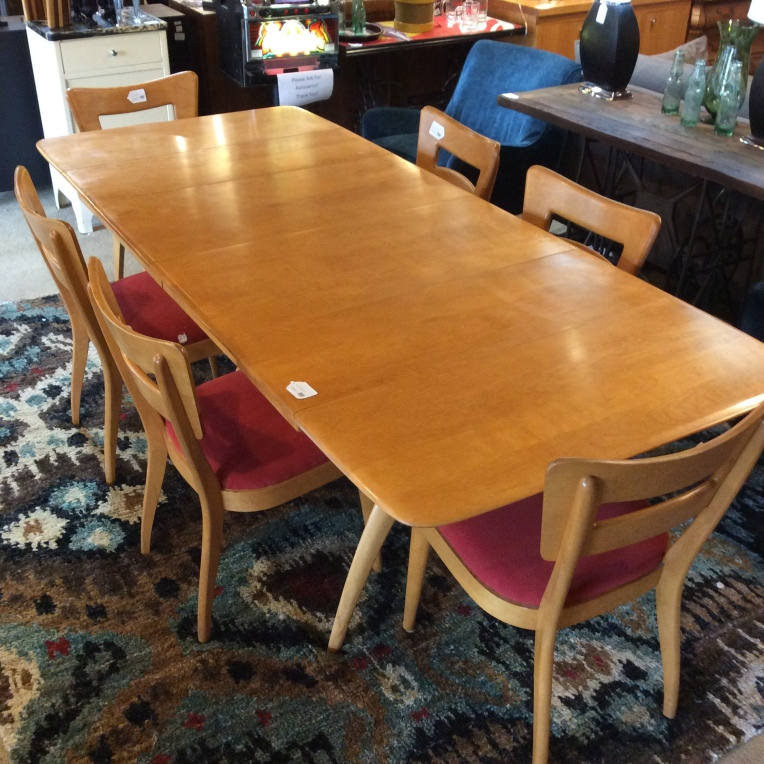 Mid Century Haywood Wakefield Dining Table With Set 6 Upholstered Red Chairs