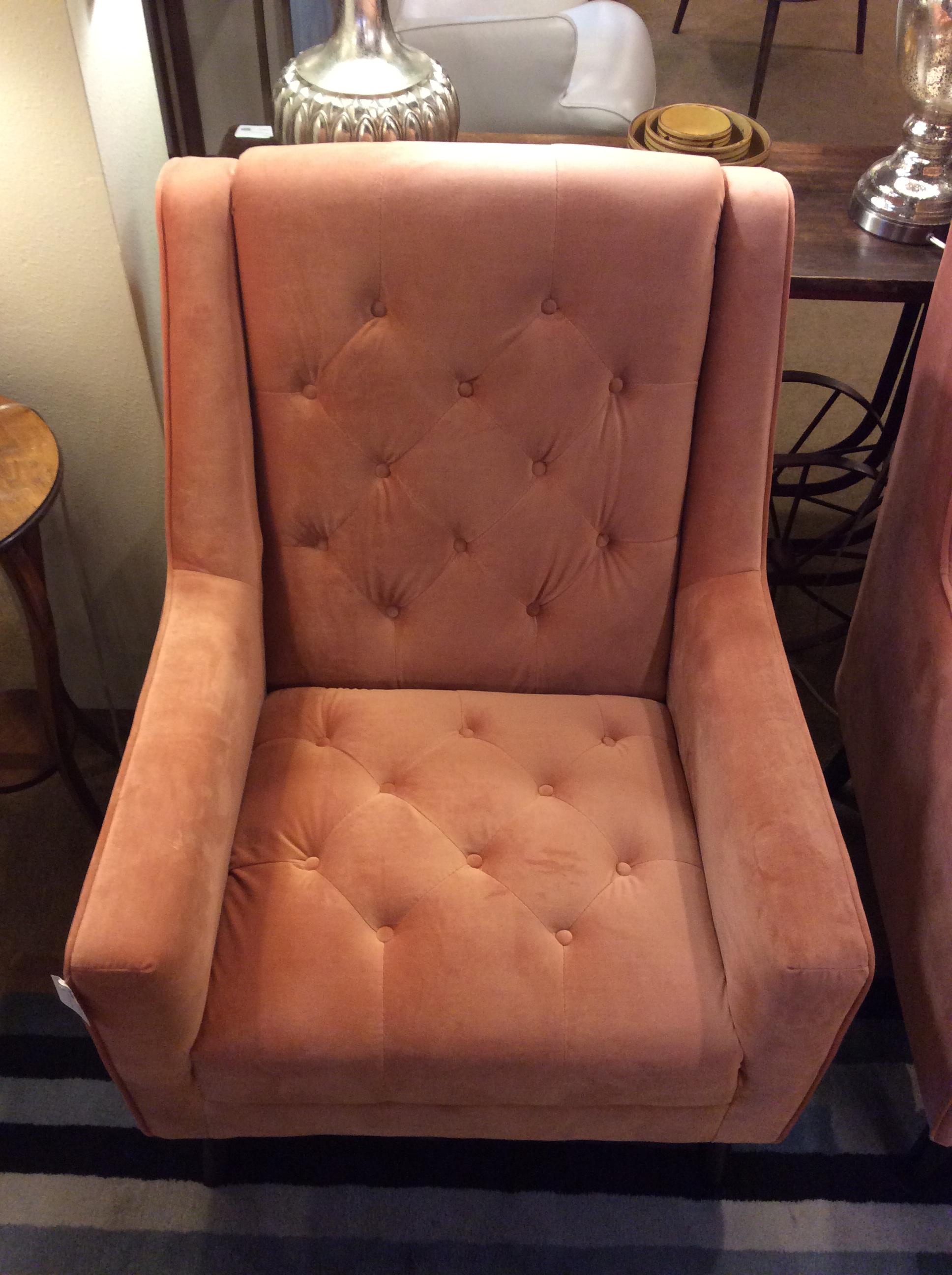 Salmon Velvet Chair 295 Ballard Consignment