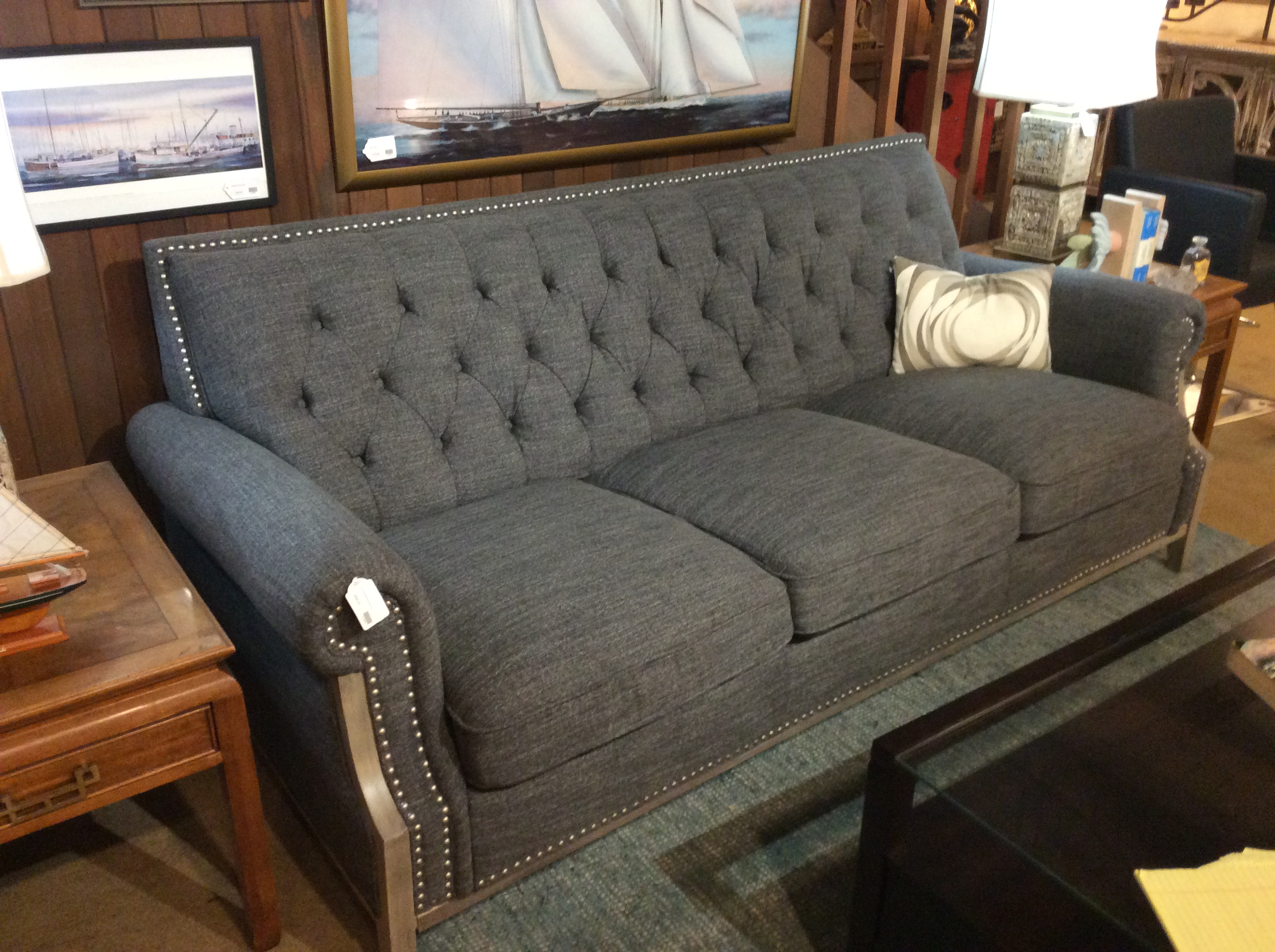 Grey Studded Sofa $995